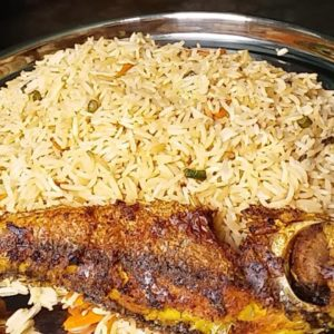 Curry Rice with Grilled Red Fish/Fried Red Fish