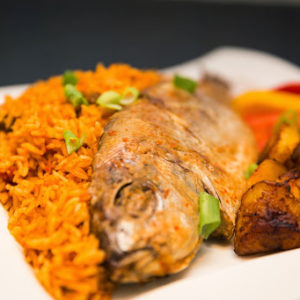 Jollof Rice with Grilled Red Fish/Fried Red Fish