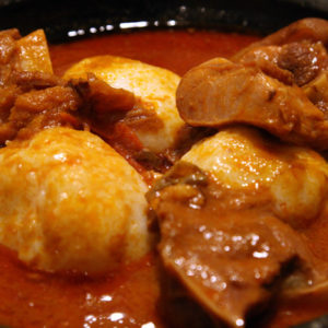 Omotuo with Groundnut or Palm Soup